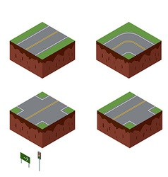 City elements Road with sign Isometric perspective vector image