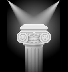classic ionic column with lights sources on black vector image