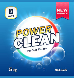 Clean power - soap and laundry detergent packaging vector