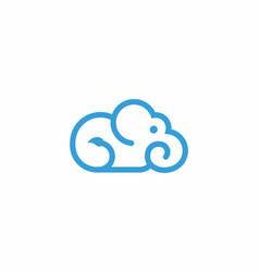 Cloud elephant logo modern design inspiration vector