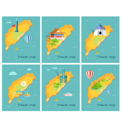 concept of taiwan map in pacific ocean graphic vector image