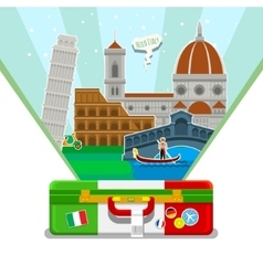 Concept of travel or studying Italian vector image
