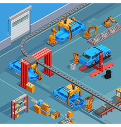 Conveyor Automotive Manufacturing System Isometric vector