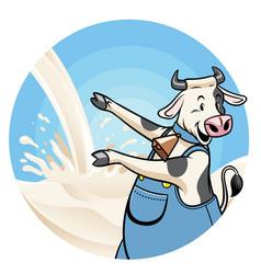 cow with milk splash background vector image