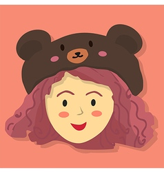 Cute Curly Girl with Black Bear Hat vector image