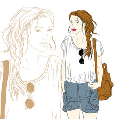 cute fashion girl with bag vector image