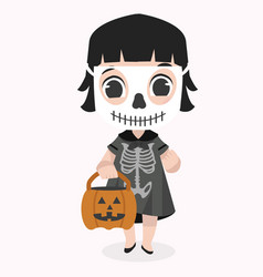 cute kid halloween character wearing skeletom vector image