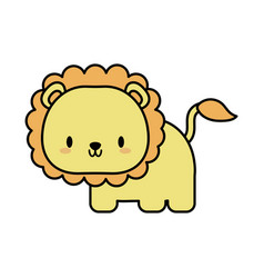 Cute lion bakawaii line and fill style icon vector