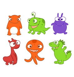 Cute monsters set three vector image