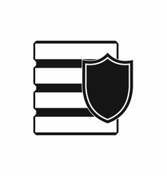 Database with shield icon simple style vector image