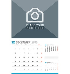 December 2016 Wall Monthly Calendar for 2016 Year vector