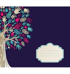 Diversity Tree hands greeting card vector