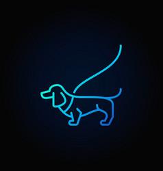 Dog on a leash blue icon vector
