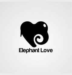 elephant love logo icon element and template vector image