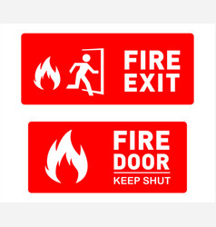 Emergency fire exit and fire door safety signs vector