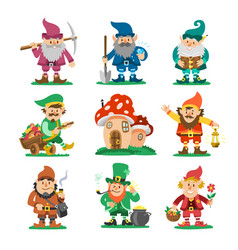 Fairy-tale fantastic gnome dwarf elf character vector
