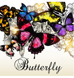 fashion background with beautiful butterlies vector image