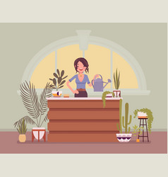 Florist lady sells grows flowers and home vector