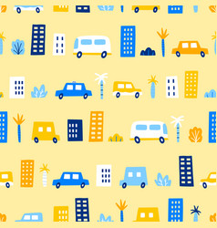 funny cars in city vector image