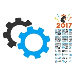 Gears Icon With 2017 Year Bonus Pictograms vector