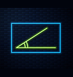Glowing neon line acute angle 45 degrees icon vector