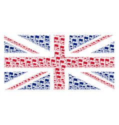 Great britain flag pattern of waving flag items vector