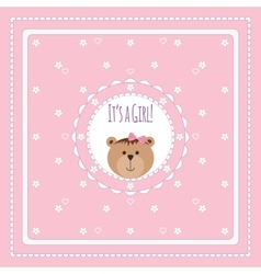 Greeting card with bears and flowers vector image