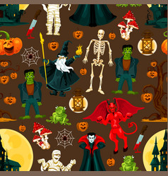 Halloween holiday seamless pattern background vector