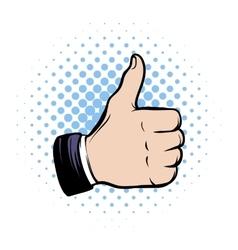 Hand doing a thumb up comics icon vector image