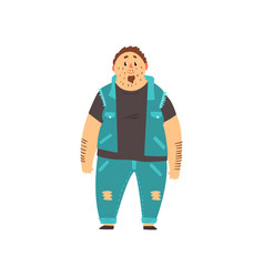 Handsome overweight man dressed jeans and denim vector