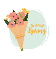 Happy spring bouquet flowers wrapped paper vector