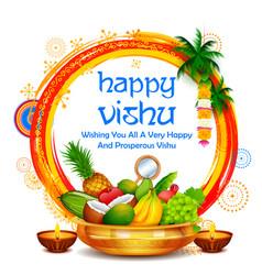 Happy vishu new year hindu festival celebrated in vector