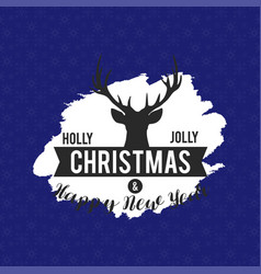holly jolly christmas reindeer background vector image