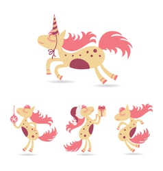 horses set for the new year and christmas vector image