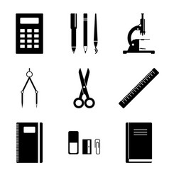 Image of school supplies icons which should vector