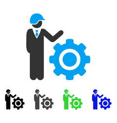 Industrial gear engineer flat icon vector