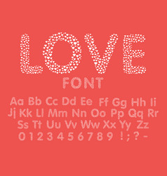 love alphabet with a heart letters and numbers vector image