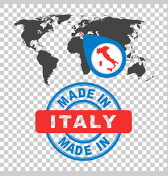 made in italy stamp world map with red country vector image