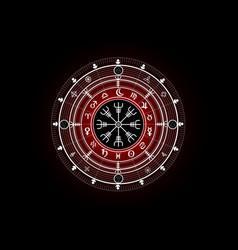 Magic vegvisir compass earth zodiac sign wheel vector
