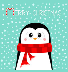 merry christmas penguin wearing red scarf happy vector image