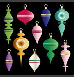 Metallic gradient christmas ornaments clipart vector
