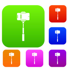 mobile phone on a selfie stick set collection vector image