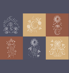 mystical logo collection vector image