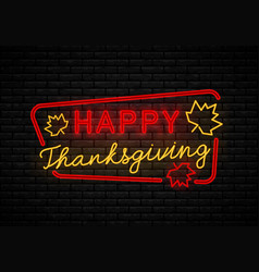 neon sign thanksgiving day vector image