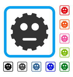 Neutral smiley gear framed icon vector