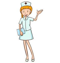 Nurse in white uniform waving vector image