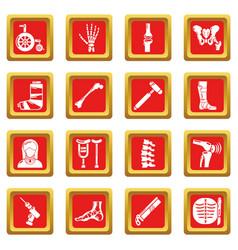 Orthopedist bone tools icons set red square vector