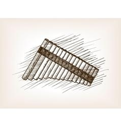 Pan flute hand drawn sketch vector image