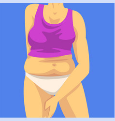 Part female body with fat belly woman clamping vector