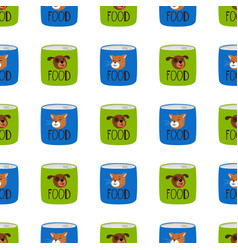 pet shop seamless pattern preserve food for cats vector image